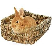 Mlec tech Casa de Hierba para Rechinar Los Dientes Dormir en Casa para Cerdos Chinchillas y Conejos 9.06 x 7.09 x 3.35in
