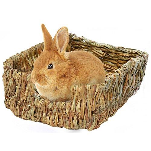 Natürliches handgewebter Essbar Gras Bett Pet Matte,Kleintier Hütten für Bunny Maus und Zwerg Hamster ungiftig Kauspielzeug Bett -