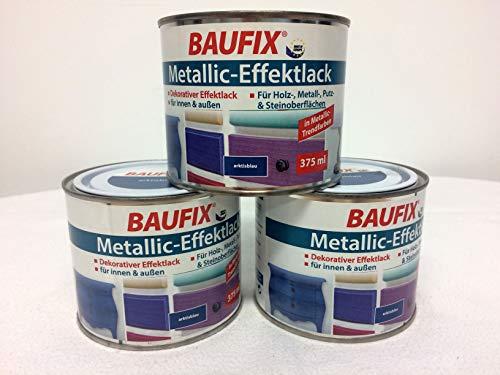 3x Baufix Metallic-Effektlack 375 ml arktisblau