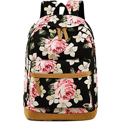 (Schulrucksack Damen Canvas Schulranzen Rucksack Mädchen mit Blumendruck (Strauch-Pfingstrose-1))