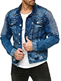 Red Bridge Herren Jeansjacke Biker Style Jeans Jacket Blue Denim Jacke Blau M6058 M