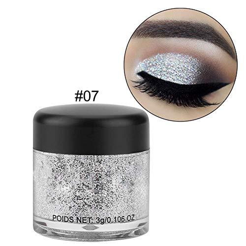 Miji Eyeshadow HANDAIYAN Eyeshadow Powder,Waterproof Glittter Eyeshadow Powder Multifunctional Loose Pigment(Silver)