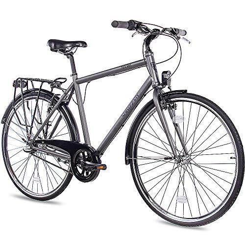 CHRISSON 28 Zoll Citybike Herren - City One anthrazit matt 53 cm - Herrenfahrrad mit 3 Gang Shimano Nexus Nabenschaltung - praktisches Cityfahrrad für Männer