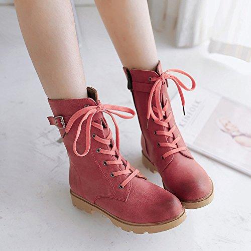 &ZHOU Bottes d'automne et d'hiver Bottes courtes pour femmes adultes Martin bottes bottes Chevalier A4-6 Red