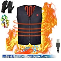 Electric Heated Vest, Washable USB Powered Heated polar fleece Clothing Winter Warm Gilet Give a Pair of Outdoor Touchscreen Gloves