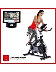 Sportstech SX200 bicicleta estática profesional con App control para Smartphone + Street View, disco inercia de 22Kg – Bicicleta estática de calidad profesional con sistema por correa de bajo ruido