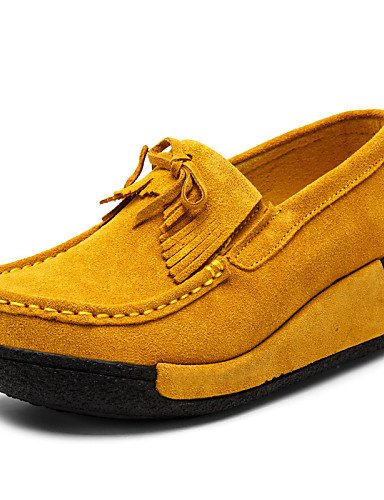 ZQ Damenschuhe - Halbschuhe - Outddor / B¨¹ro / L?ssig - Wildleder - Keilabsatz - Wedges / Plateau / Creepers - Schwarz / Blau / Gelb / Rot yellow-us6 / eu36 / uk4 / cn36