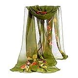 OverDose Mode Frauen Chiffon Schmetterling Schal Weiche Wrap Schal Halstuch Tücher Schlauchschal Damen Schal Shawl,A-Green