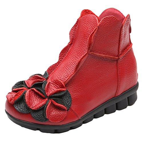 Vogstyle Damen Neu Beiläufig Blumen Lederstiefel Handgefertigt Kurze Boots Fleece Rot Art 1 EU 38=ASIAN 39