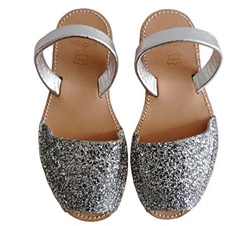 Menorquinas Avarcas. Plate-forme / coin 4.8cm. glitter, avarcas menorquínas. Glitter plata