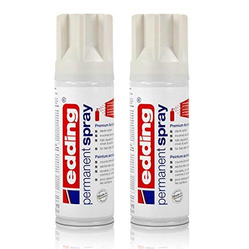 2x edding Permanent Spray verkehrsweiß glänzend 200 ml Premium Acryllack, RAL 9016