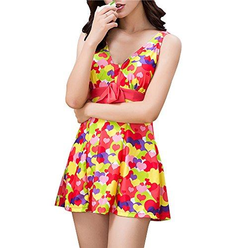 Blase Pad (Bikini Badekostüm FOCLASSY Damen Sexy Einteiler BIKINI Swimdress Sleeveless Bunte Blase Gedruckt Plus Size Hohe Taille Push Up Bademode mit Chest Pad -1505 (XL, RED))