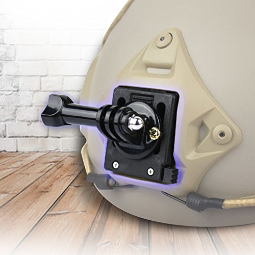 Tbest Tactical Helm Zubehör Front Bracket Mount, 360 ° Drehen Military Helmet Fix Mount Base Adapter Halterung für Xiaomi YI Kamera Camcorder