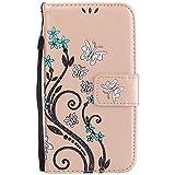 Samsung Galaxy S5 Mini Hülle, Chreey Prägung [Glitzer Schmetterling] Leder Wallet Tasche Stoßfest Flip Case Hochwertig Handy Etui Elegant Cover [Golden] + Stand Kartenfächer