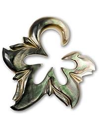 Fly Style® - 1 Stück - Expander Dehnungssichel aus Perlmutt - Black Shell Flower
