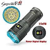 Sisit Supwildfire 50000LM 15 x XM-L T6 LED puissance et mode affichage numérique chasse lampe de poche (Bleu)
