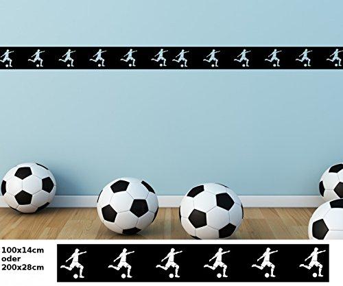 bend Bordüre Fussball Ball Sport Fliesenaufkleber Border Set Aufkleber Banner Wohnzimmer 1U055, Farbe:Schwarz Matt;Länge x Breite:100cm x 14cm ()