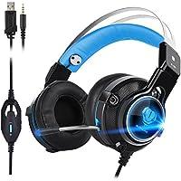 Auriculares Gaming ,Auriculares Estéreo para PS4 USB Cancelación de Ruido Auriculares Cascos (rojo) (Azul)