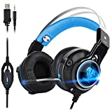 Elekele LED 3.5mm Gaming Headphone, Stereo Gaming Headset with Mic for PC Tablet Smartphone PS4 PSP XBOX ONE (Blue)