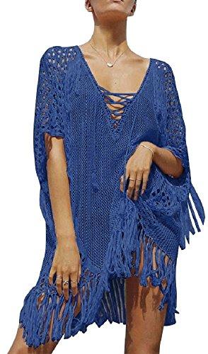 Walant Damen Sommer Gestrickt Strand Bademode Bikini Cover Up Crochet Kurze Kleider Tops Bluse Sweatshirt mit Quasten (Cover Strand Pareo)