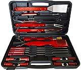 Set Kit Accessori barbecue con valigetta utensili griglia BBQ posate grill 18 pz weber acciaio Inox lavabile grigliate regalo di natale