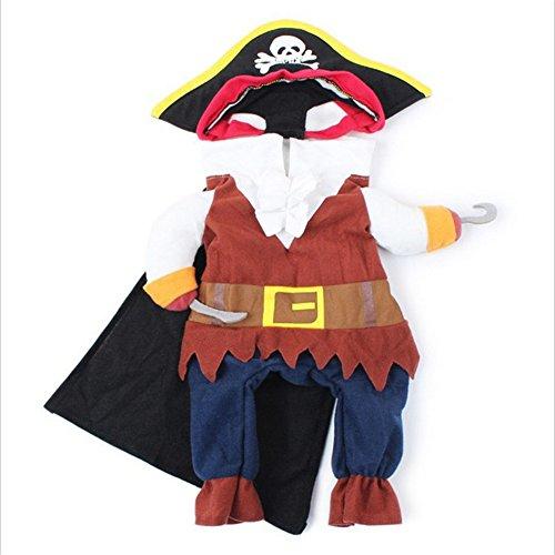 happyquda Pet Halloween Kleidung Funny Piraten Hund Katze Kostüm Anzug Pet Party Kleidung 4Größen