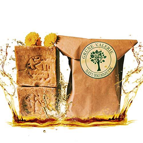 Grüne Valerie ® Originale Aleppo Seife im Set 2 x 200g + 40/60% Lorbeeröl/Olivenöl - Haarwaschseife/Duschseife PH Wert 8 - Detox Eigenschaften - veganes Naturprodukt Handarbeit - 6 Jahre gereift! -