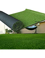 Eurotex Artificial Grass Carpet Mat for Covering Balcony, Lawn, Door (PE & PP, Size, 4-Tone Green Color)