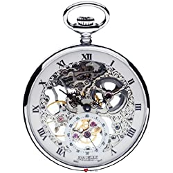 Skeleton Pocket Watch Open Face 17 Jewelled Mechanical Chromed Case