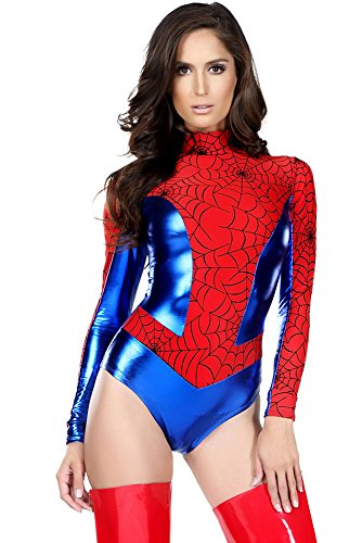 Damen Rot & Blau Spiderwoman Superheldinnen-Kostüm, für Junggesellinnenabchied / Halloween-Party / Clubbing, Größe M, 36-38 (Spider Woman Neue Kostüm)