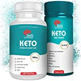 Keto Weight Loss Pills - Fat Burner Slimming Capsules with Ketone Test Strips Included - Appetite & Hunger Suppressant - 120 Tabs - Natural Energy Booster - Ideal for Men and Women