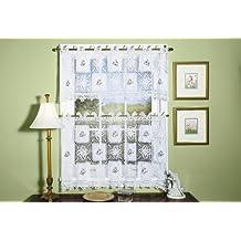 Todays Curtain Cortina de Hoy (Cottage Floral Ganchillo Bordado para Ventana Niveles, (61