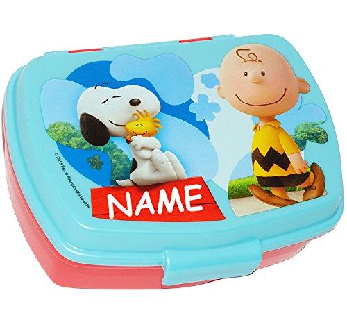 alles-meine.de GmbH Lunchbox / Brotdose -  Peanuts / Snoopy  - incl. Name - Brotbüchse Küche Essen - für Mädchen & Jungen - Charlie Brown - Woodstock Beagle Hund - Kinder Vespe.. (Woodstock Hund Spielzeug)