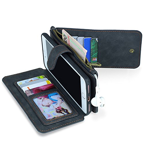 Zhhlaixing Multifunction Detachable PU Leather Flip Cover Zipper Purse Phone Case with Credit Card Slots per iPhone 7/7plus Black