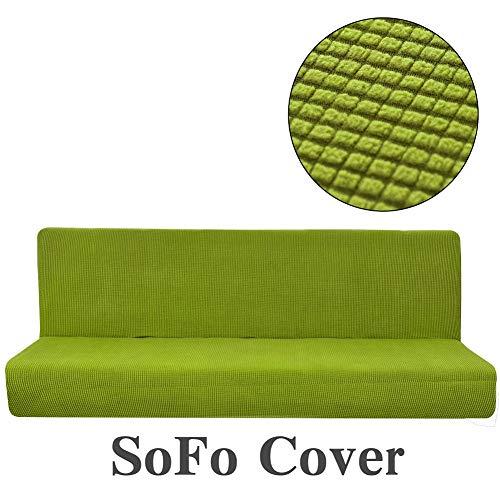 AFAHXX Futon schlafsofa Cover schutzhülle Volltonfarbe voller Falten elastische arm-grün 59-75in - Arm-futon