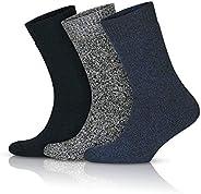 GoWith 3'lü Norveç Tipi Yünlü Tam Havlulu Güçlendirilmiş Ön Yıkamalı Kışlık Erkek Çorap Seti