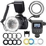 Neewer 48-LED Macro Ringblitzleuchte Set for Canon / Nikon / Panasonic / Olympus / Pentax SLR Camera (Macro Ring Head Power controller with LCD Display 4x Flash -Diffusor 8 x Ring
