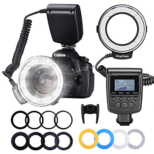 Neewer 48 Macro LED Anello Flash con LCD Display Controllo di Aliemntazione Anello di Adattatore e Flash Diffusore per Canon 650D 600D 550D 70D 60D