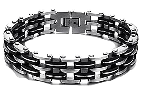 SaySure- 14MM Wide Bike Bicycle Chain Bracelet Men Stainless Steel