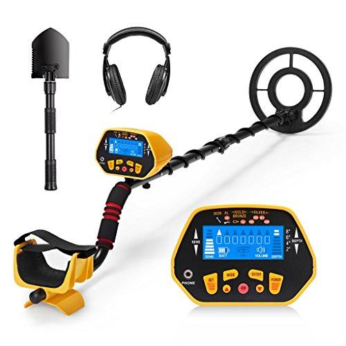 URCERI 1028 Detector de Metales,  Alta Sensibilidad,  2 Modos de busca,  Pantalla LCD,  Modo de Sonido,  Bobina de Búsqueda Sensible,  Impermeable y fácil de uso para Profesionales,  Auriculares Incluídos
