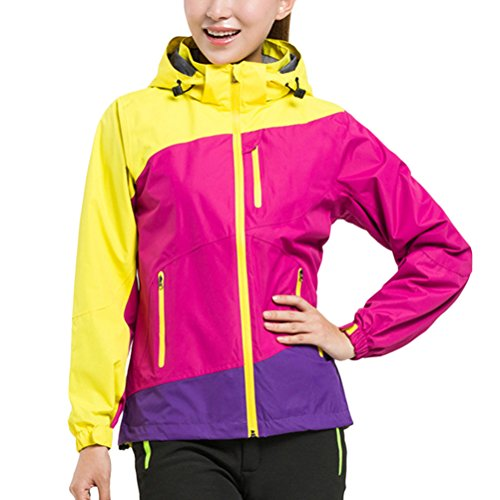 Zhhlinyuan Fashion Women Single Spring Autumn Clothing Waterproof Breathable Coat for de plein air Rose Red