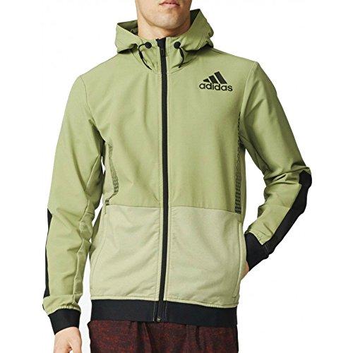 Adidas Workout FZ Hood–Sweatshirt für Herren L Verde (Vertie / Negro) (Hood Fz)