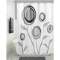 InterDesign Marigold SC Cortina de baño de diseño | Cortina de ducha con ojales | 183 x 183 cm | Cortinas modernas con estampado de flores | Poliéster negro/gris