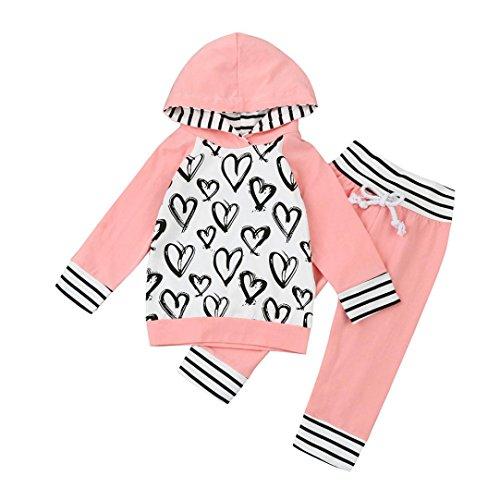 Kleinkind Baumwolle Mit Kapuze Kleider Sets Hirolan Säugling Baby Mädchen Jungen Herz Drucken Lange Hülse Tops + Hosen Outfits (90cm, Rosa) (Mischung Wrap Baumwolle)