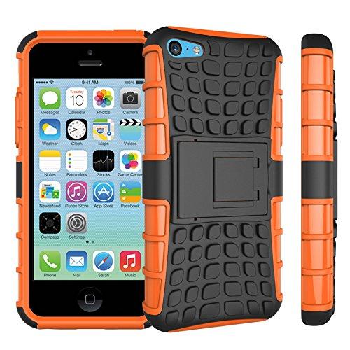Apple iPhone 5c Coque, SsHhUu Dure Heavy Duty Réduction de Vibration Couverture Double Couche Armure Combo avec Kickstand Protecteur Étui Coque pour iPhone 5c 4.0 Pouce (Bleu) Orange
