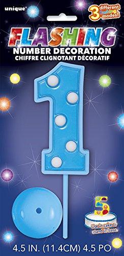 Unique Party - 37041 - Décoration à Gâteau Clignotante Numéro 1 - Bleu 0011179370412