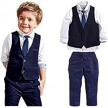 1e9deec851fe Carolilly Ensemble Costume Cravate Enfant Bébé Garçon 3 Pcs Chemise à  Manches Longues + Pantalon +