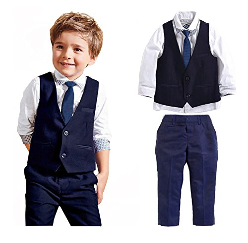 Carolilly Jungen Anzug mit Weste Hemd Gentleman Kinderanzug Hochzeit Taufe Festlich Outfit(1-7Y (6-7 Jahre, Blau)