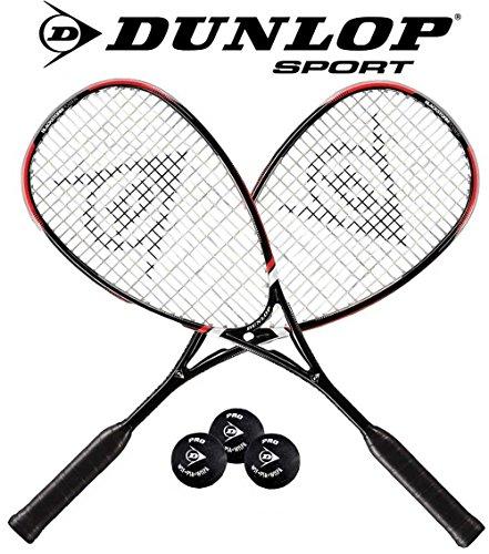 Dunlop Squashset: 2 x BLACKSTORM POWER Squashschläger + 2x Hülle + 2x Squashball 2*