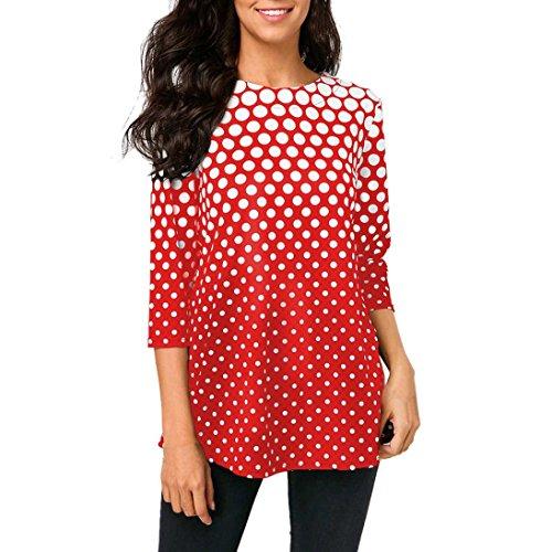 Damen Bluse Xiantime Mode Damen O-Neck T-Shirt Tops Dreiviertel Ärmel Polka Dot Print Bluse S-XXL